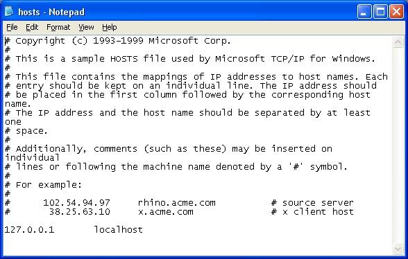 Скриншот файла hosts