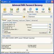 Скриншот Advanced RAR Password Recovery 4.53