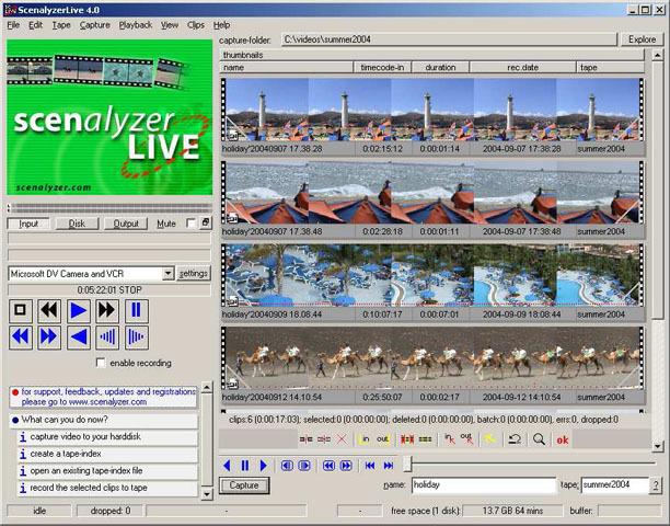 ScenalyzerLive - программа, предназначенная для захвата видео и работы с ни