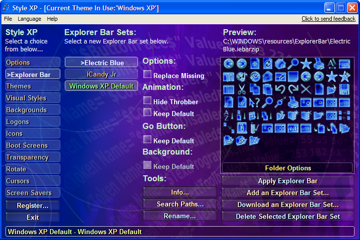 Программа позволяет изменять внешний облик Windows XP, а именно темы, стили и обои.